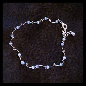 Jewelry - Blue Beaded and Silver Anklet